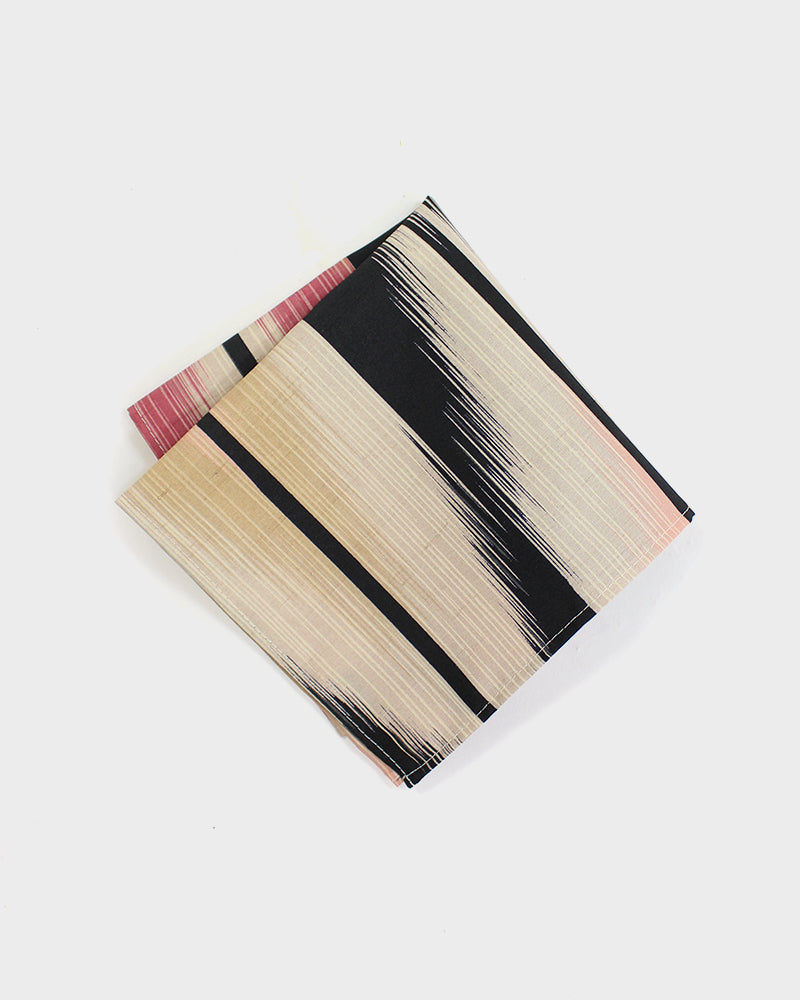 Pocket Square, Abstract Stripes, Black, Beige and Pink