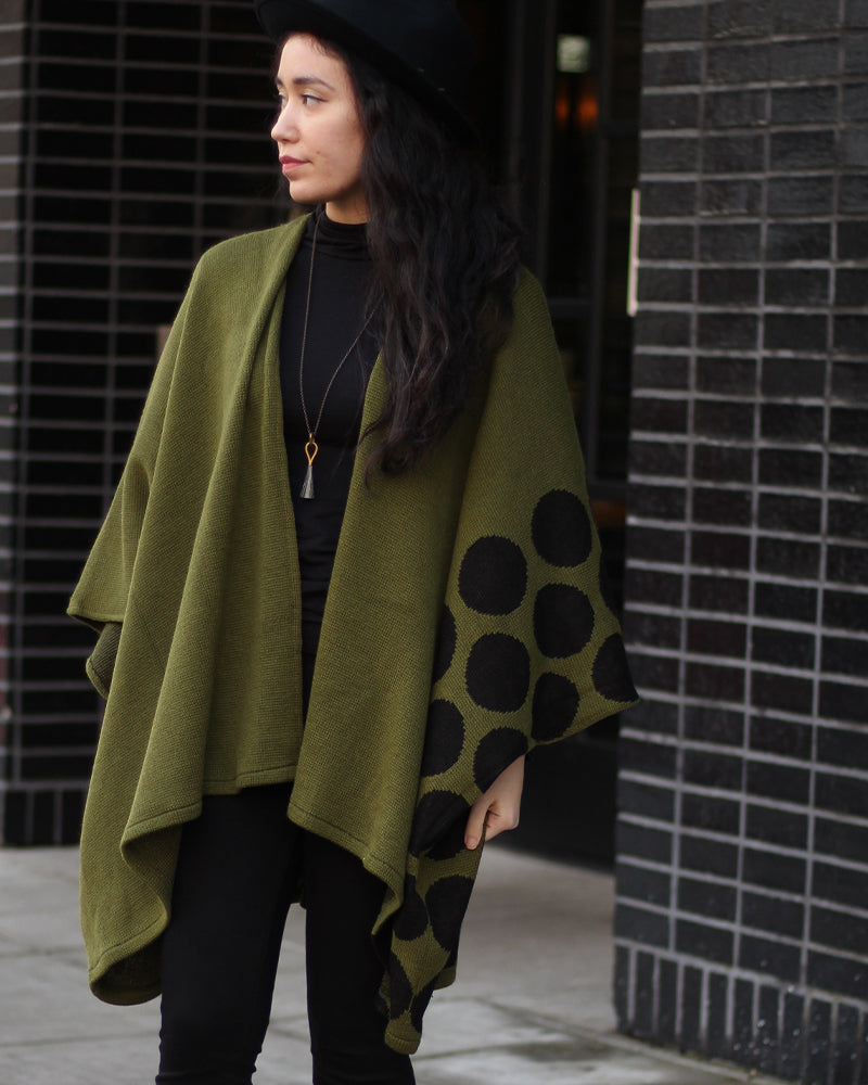 Poncho, Olive with Dots