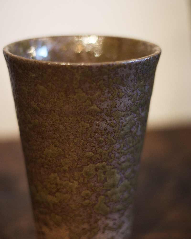 Tall Mashiko Ceramic Cup, Textured Olive Green