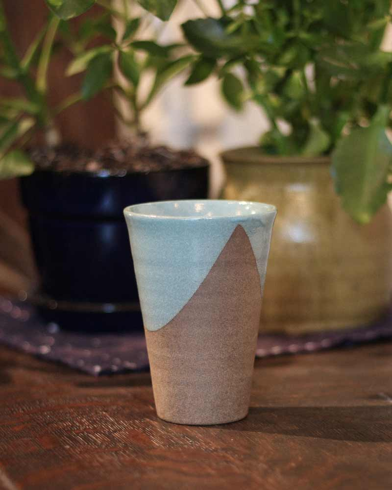 Tall Mashiko Ceramic Cup, Tiffany Blue