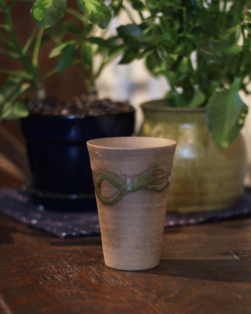 Tall Mashiko Ceramic Cup, Abstract Olive Green