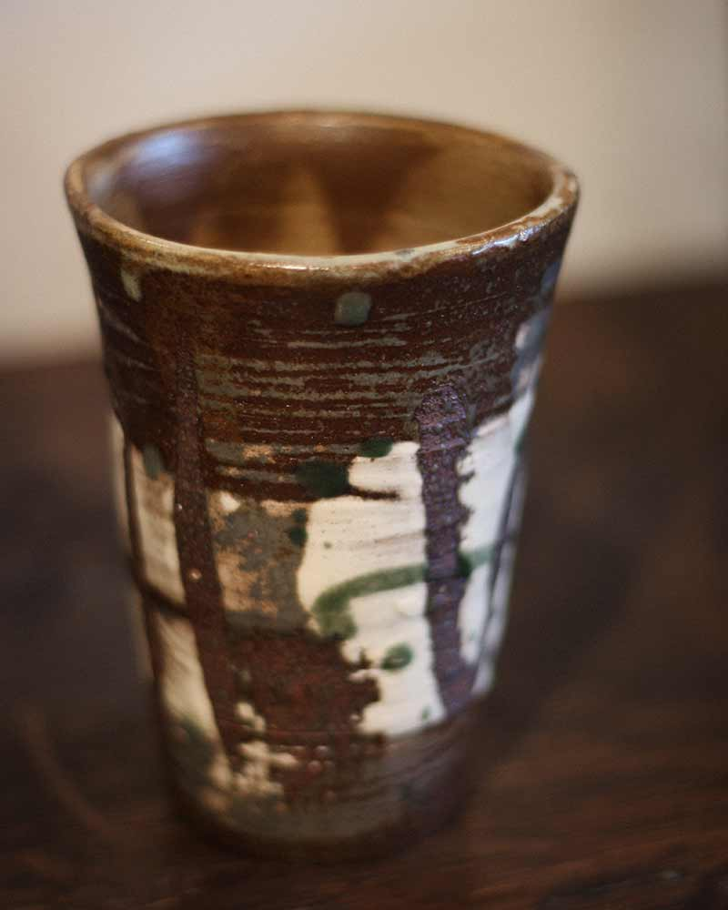 Tall Mashiko Ceramic Cup, Abstract Olive Green and Cream