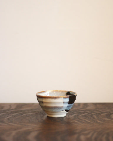 Vintage Short Teacup with Gold and Grey Detail