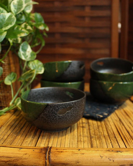 Green and Charcoal, Small Bowls, Set of 5