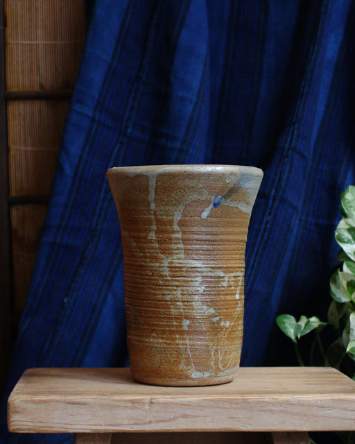 Beige and Tan Rigged Vase