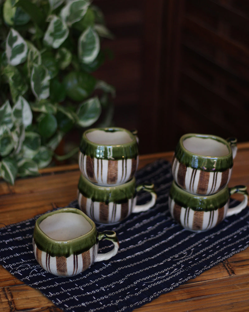 Tea Cups, Green Rim with Brown Stripes, Set of 5