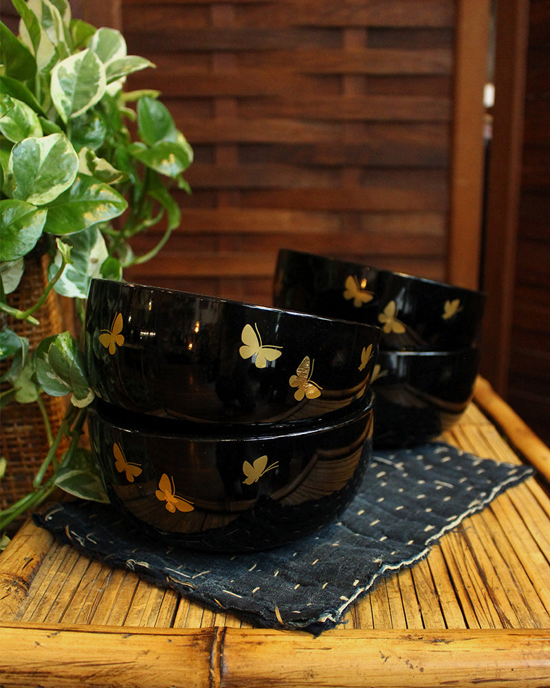 Black Bowls with Golden Butterflies, Set of 4