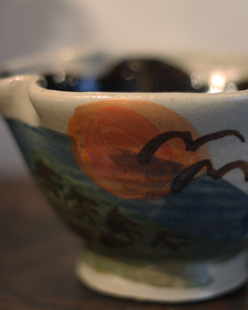 Vintage Bowl Pinched Rim, Natural Scenery