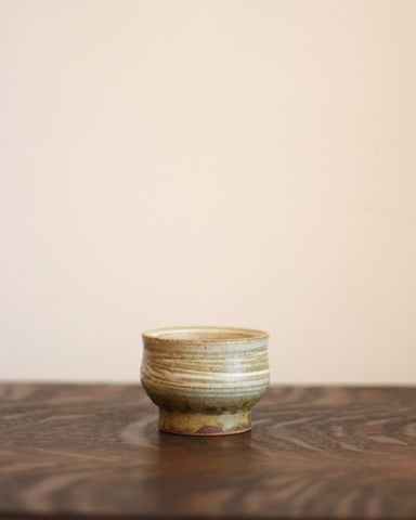 Vintage Neutral Sake Cup with Lines