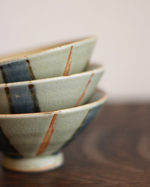 Vintage Bowl with Blue and Red Stripes