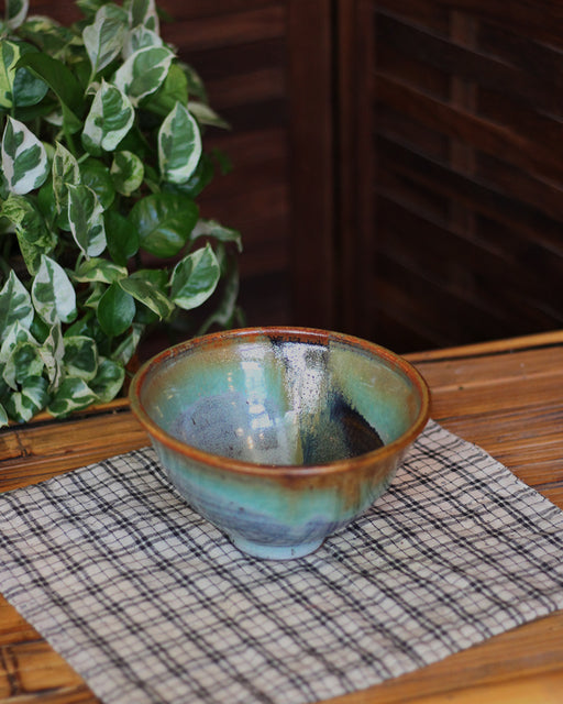 Abstract Blue, Green, and Brown Bowl
