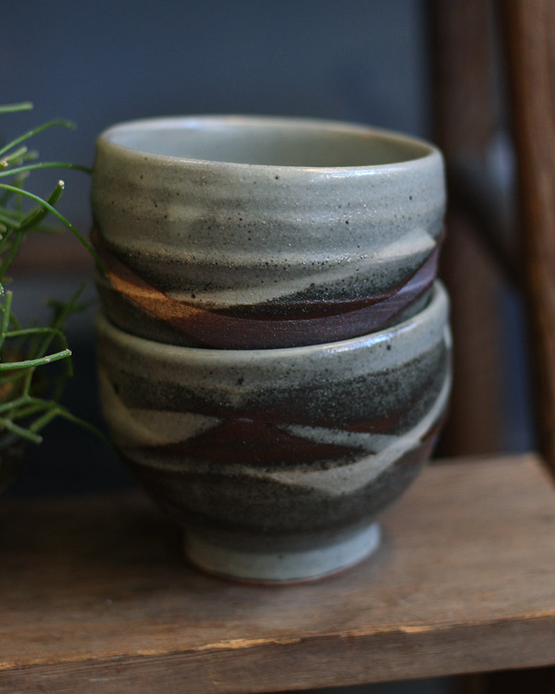 Mashiko-Yaki Tea Cup, Light and Dark Gray