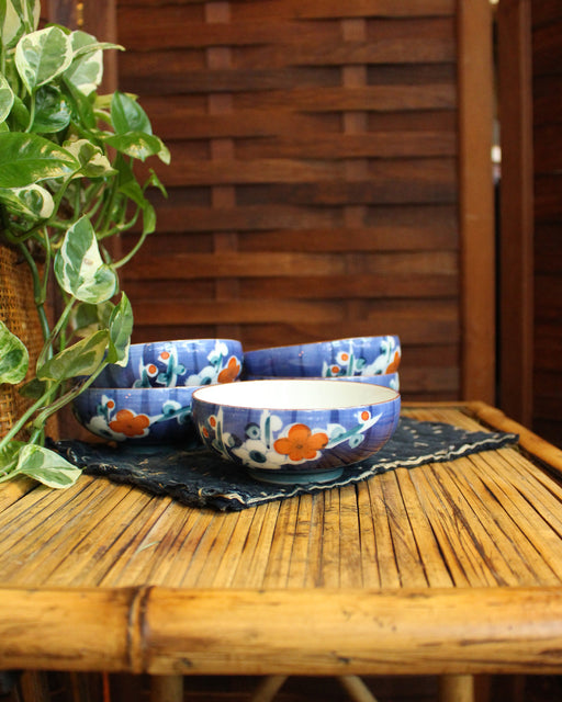 Blue Bowls with Flowers, Set of 5