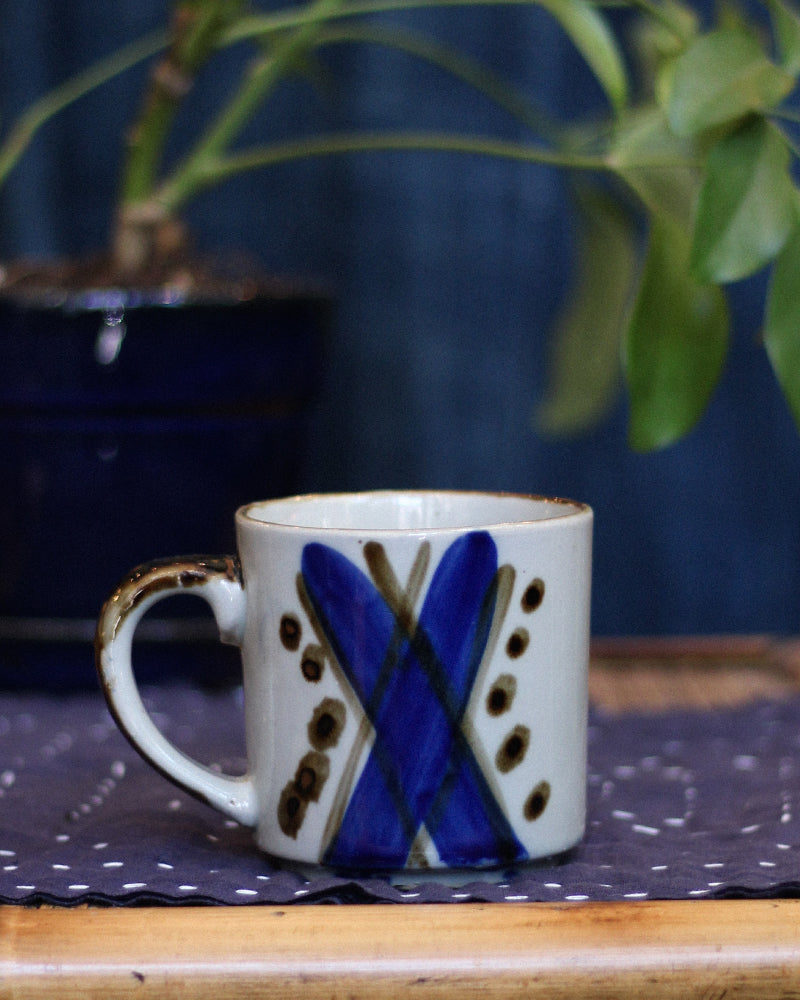 Ceramic Mug, Blue and Brown X with Dots