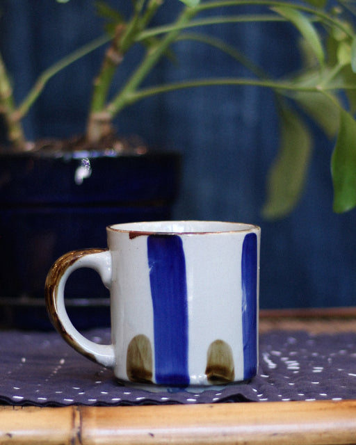Ceramic Mug, Blue and Brown Lines
