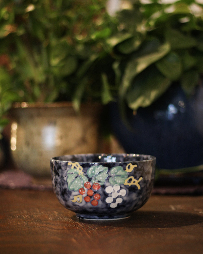 Medium Bowl, Indigo with Grapes