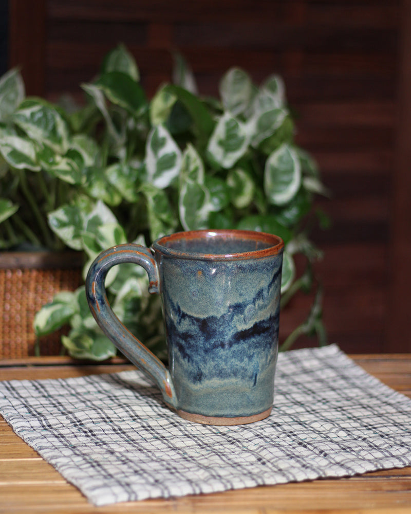 Sage, Brown, and Indigo Abstract Mug