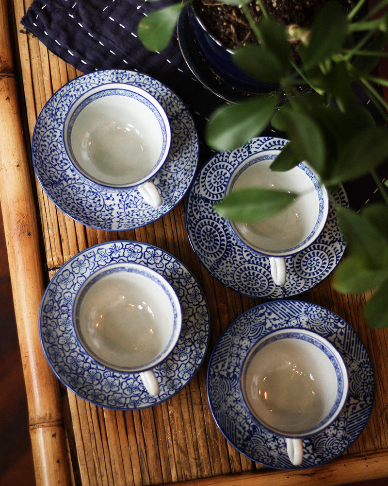 Cup & Saucer Set, Blue Multi Pattern