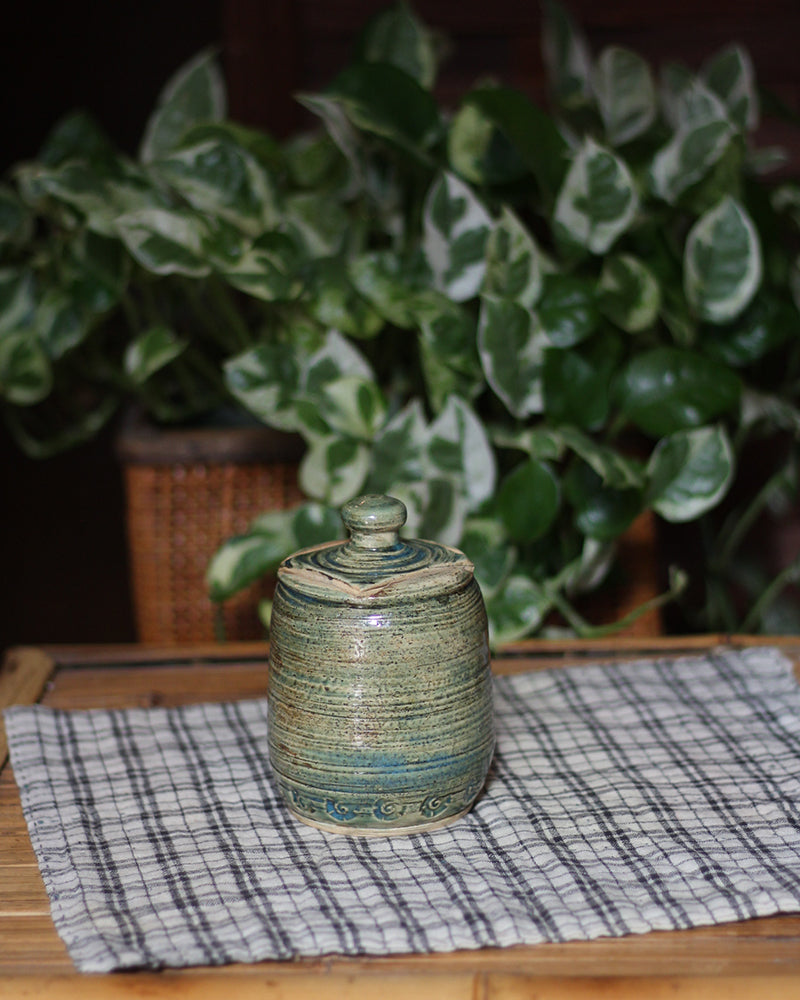 Jar with Ribbed Etching, and Lid