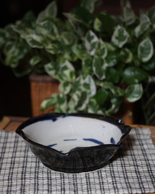 Ceramic Bowl, with Blue Swirl