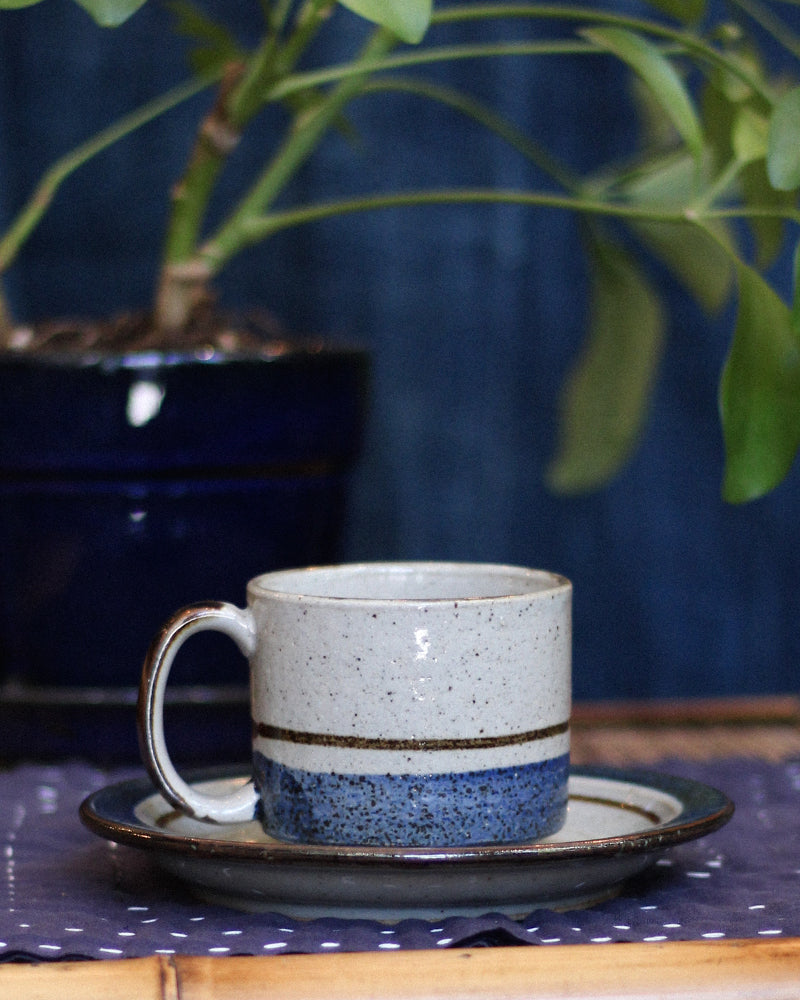 Coffee Cup and Saucer Set, Grey and Blue