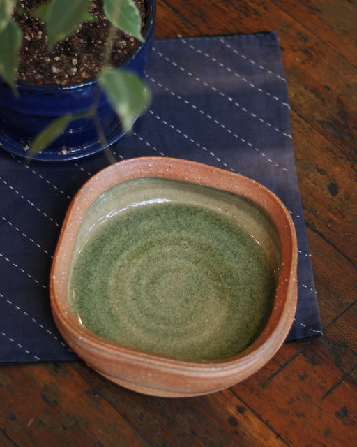 Ceramic Green and Coral Square Bowl