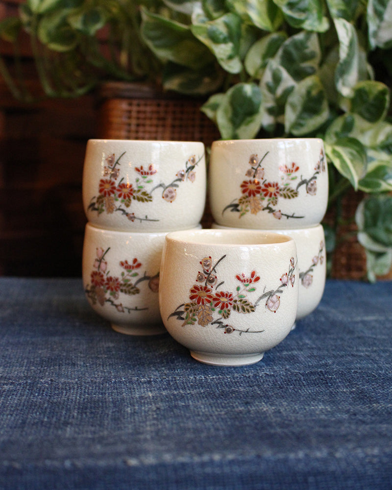 Tea Cups, Hand Painted Blossoms