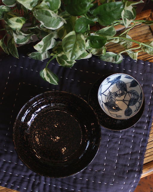 Cup, Saucer & Bowl, Black & Brown with Blue Leaves, Set of 9