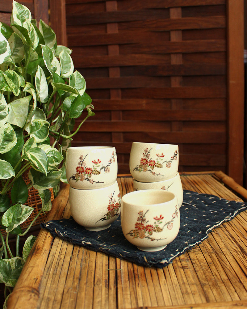 Hand Painted Flower Blossom, Tea Cups, Set of 5
