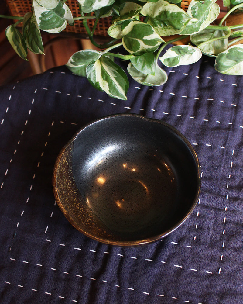 Serving Bowl, Black and Brown Speckles