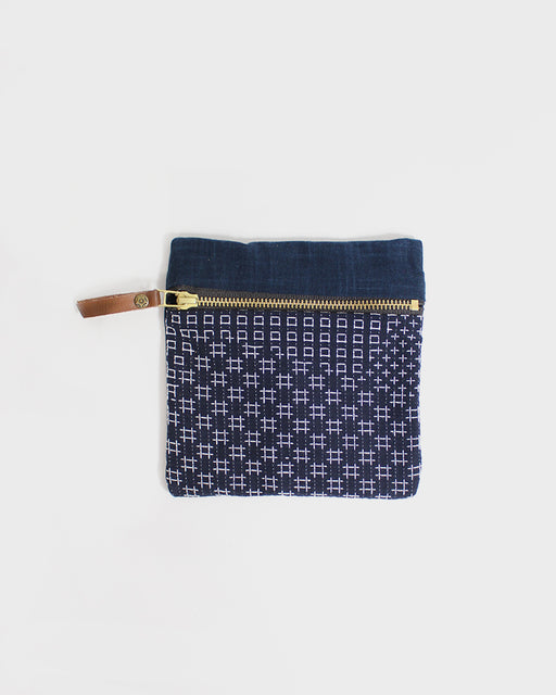 Small Sashiko Two Tone Flat Pouch