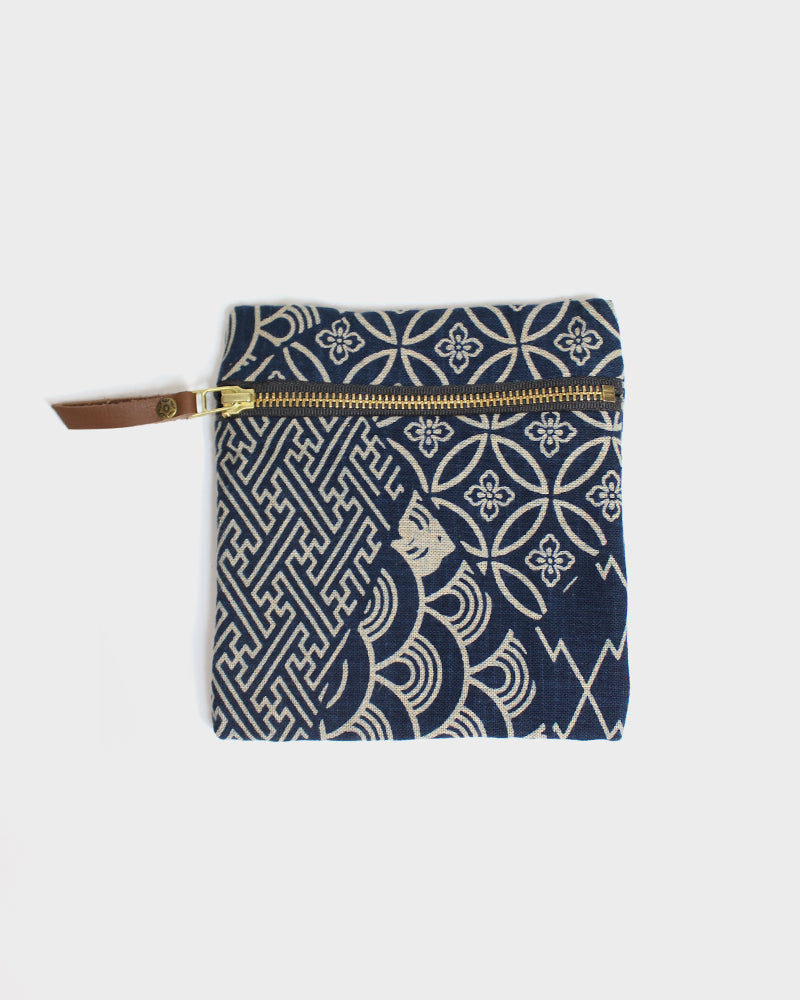 Flat Small Zipper Pouch, Multi, Indigo and Cream, Sayagata and Shippou