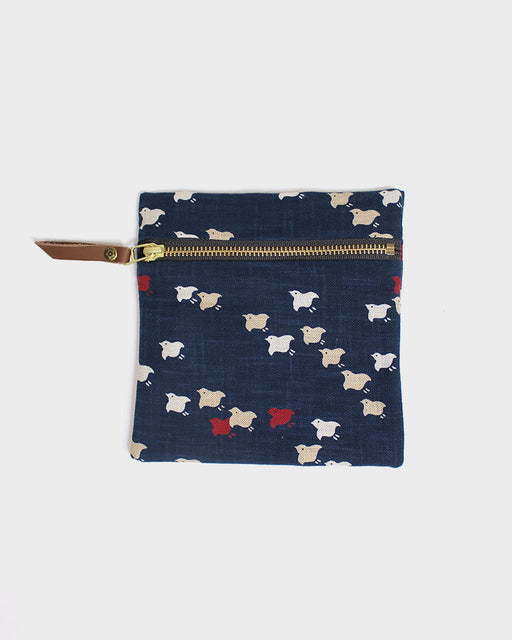 Flat Small Zipper Pouch, Indigo, Red, White and Tan, Chidori