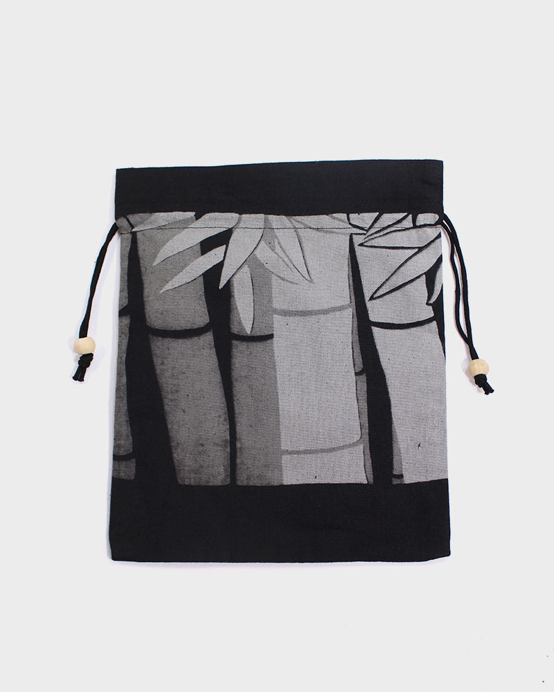 Kinchaku Bag, Black and Grey, Bamboo Stalks
