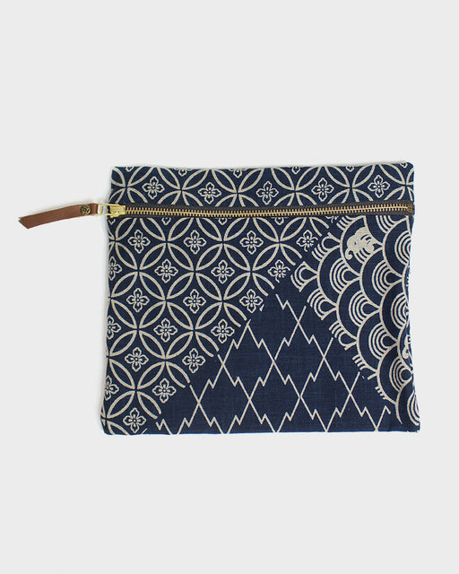Flat Medium Zipper Pouch, Multi, Indigo and Cream, Sayagata and Shippou