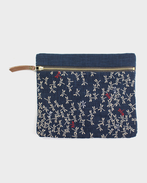 Flat Medium Zipper Pouch, Two Tone Indigo Tonbo