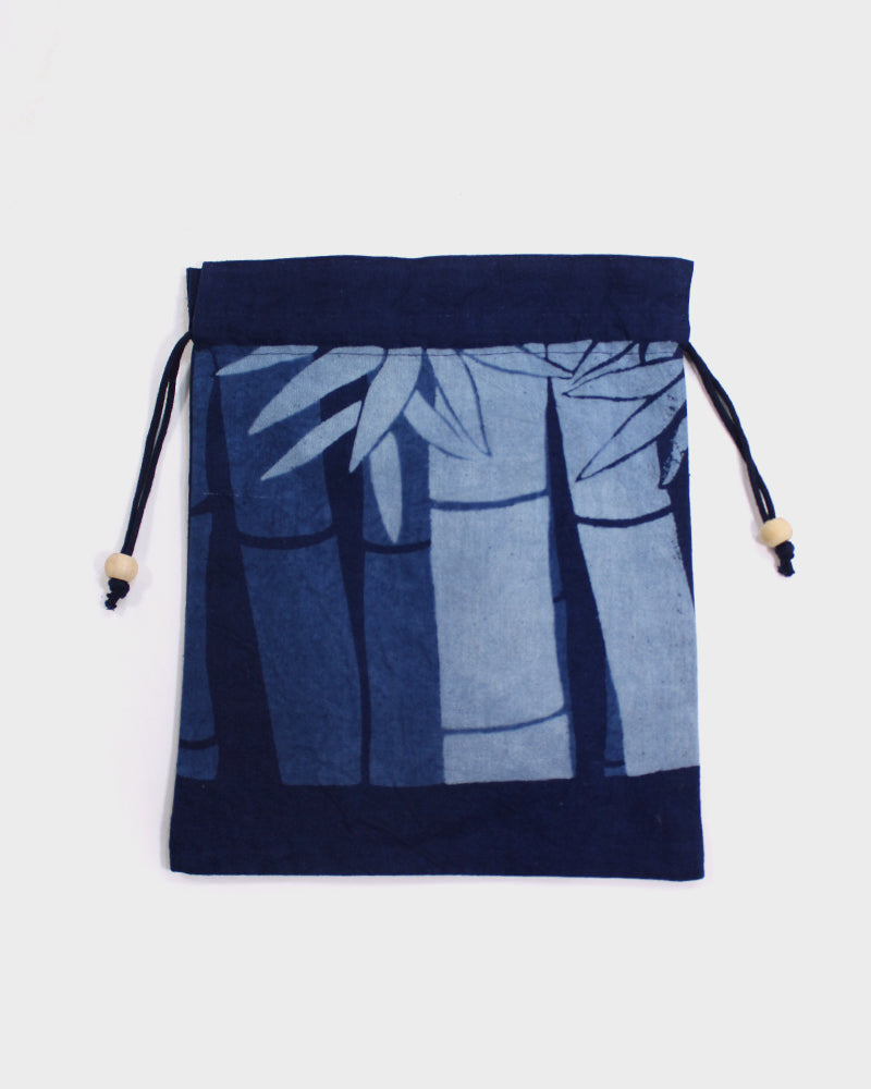 Kinchaku Bag, Light and Dark Indigo, Bamboo Stalks