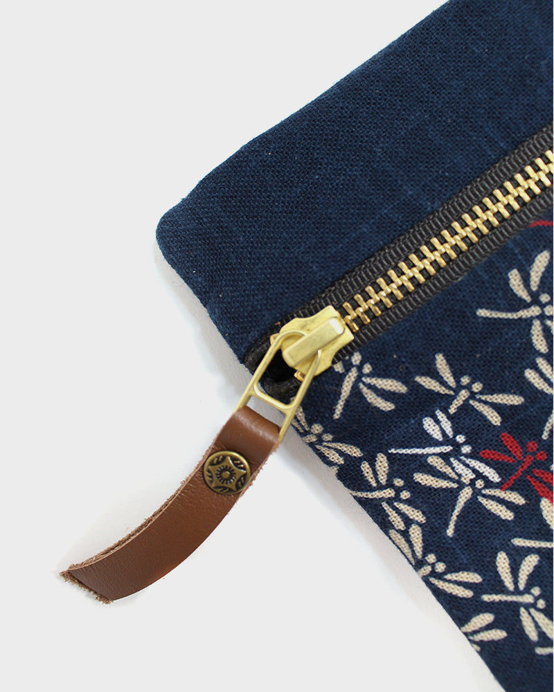Flat Small Zipper Pouch, Two Tone Indigo Tonbo