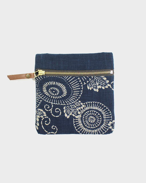 Flat Small Zipper Pouch, Two Tone Indigo Kiku