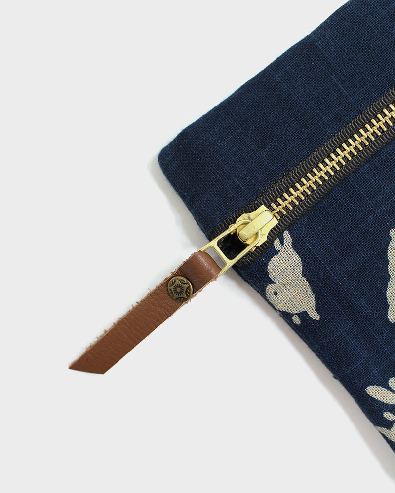 Flat Small Zipper Pouch, Two Tone Indigo Usagi
