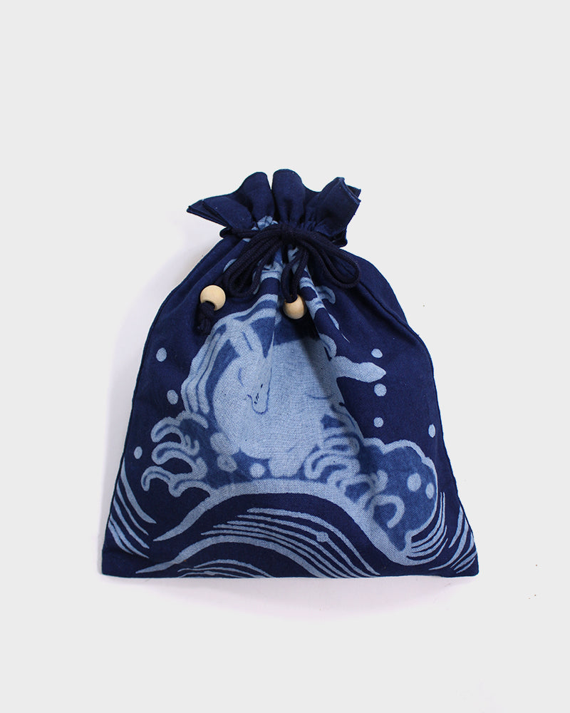 Kinchaku Bag, Light and Dark Indigo, Inaba no Shirousagi