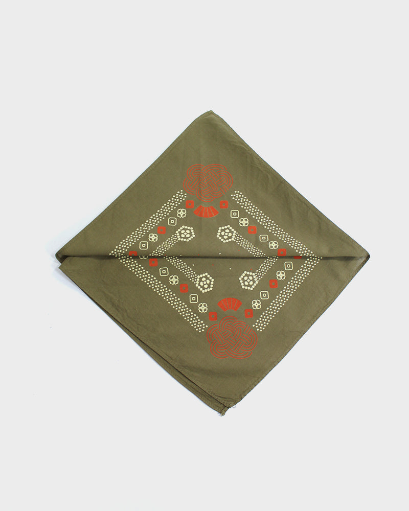 Custom-Dyed Bandana Uguisu-Iro Two-Tone, Mizuhiki with Cream and Orange