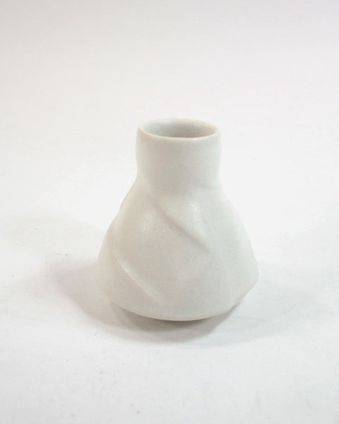 Kelly Pottery, Etched Bud Vase White