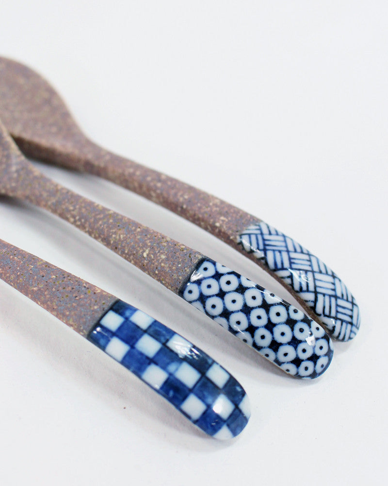 Mashiko-Yaki Hand-Painted Spoon, Basket Weave