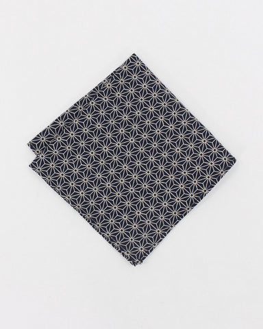Pocket Square Black Asanoha