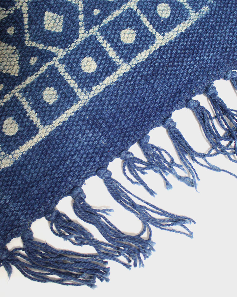 Indigo Rug, Dots and Arrows