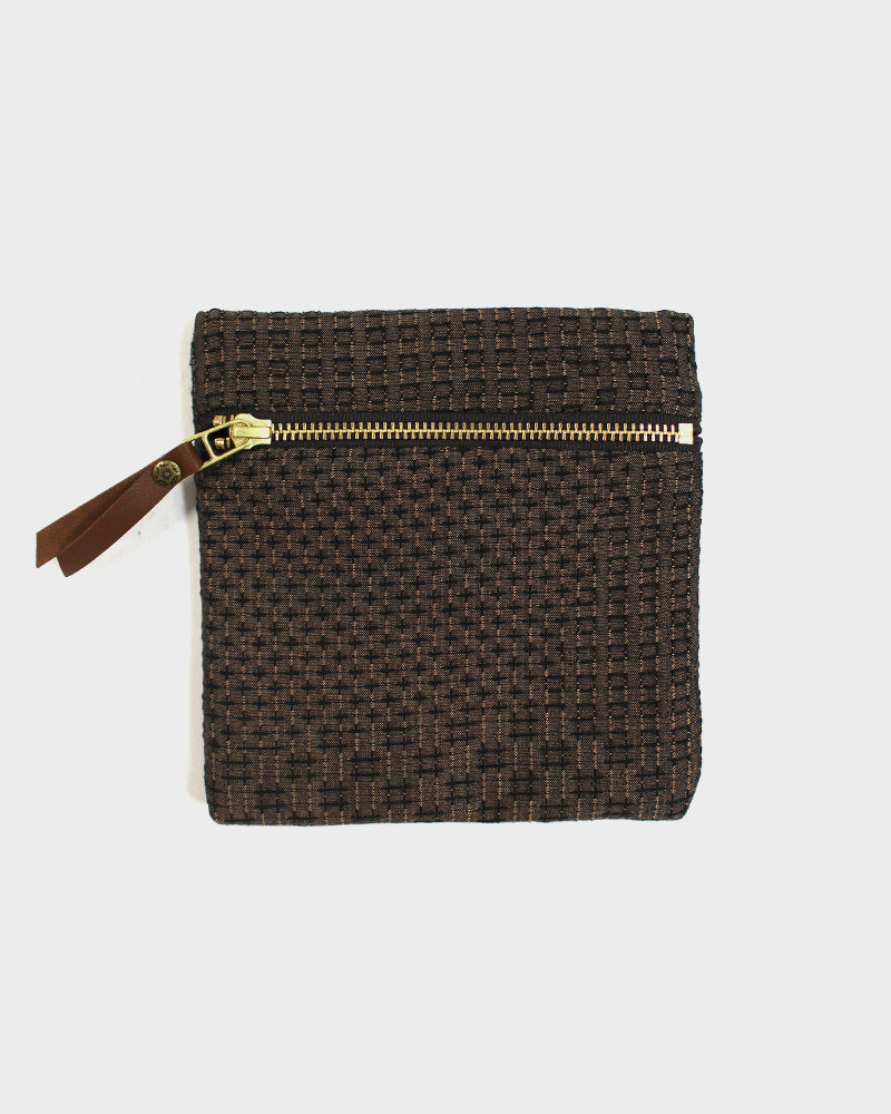 Flat Small Zipper Pouch, Dark Brown Sashiko