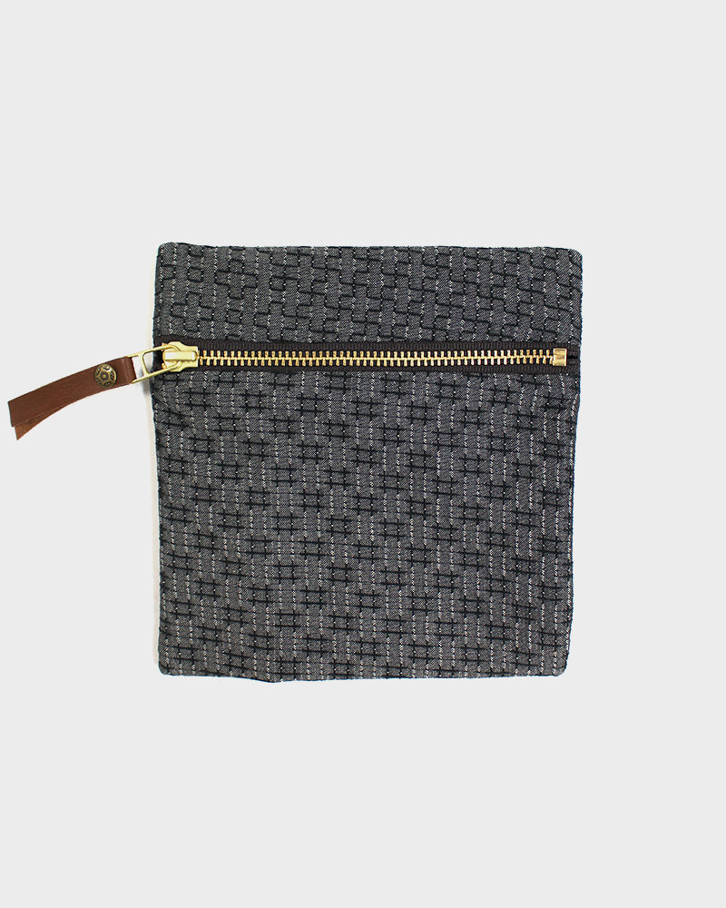Flat Small Zipper Pouch, Grey Sashiko