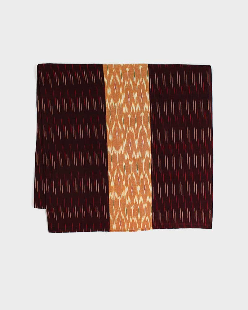 Triple Split Scarf Burgundy Dashes and Orange Dashes