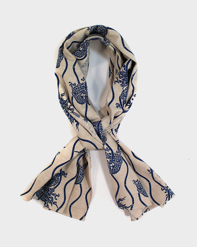 Indigo Dragon Scarf, Off-White